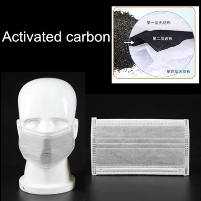 Activated Carbon 50pcs Face Mouth Mask 4 Layers Prevent Bacteria Anti Virus Dust Proof Flu Adult Masks