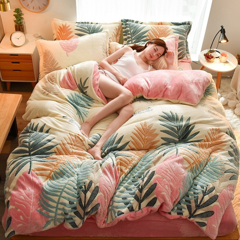 Bedding-Set Pillowcase Duvet-Cover Bed-Sheet Flannel Winter Thicken with Bear/Fish/pineapple-pattern title=