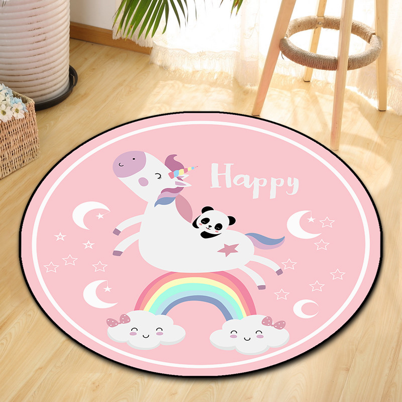 Cilected Cartoon Unicorn Round Carpet Nordic Simple Living Room Coffee Table Mats Bedroom Non-Slip Rugs Children Crawling Mat