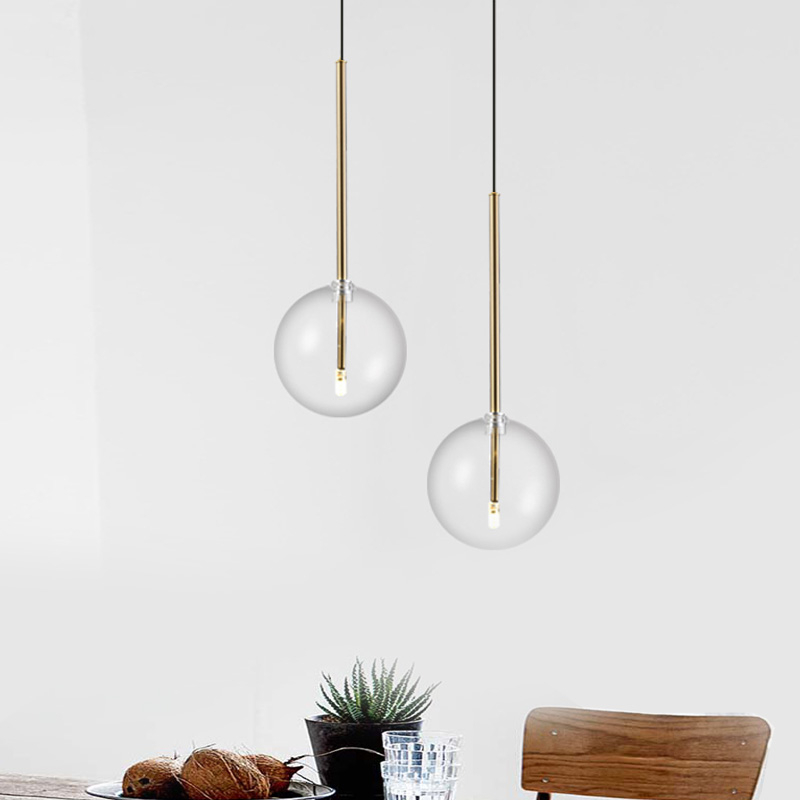 Nordic Modern Pendant Lamp Fixture Clear Glass Lampshade Bedroom Hanging Lights Dining Restaurant Decor Suspension Lustre