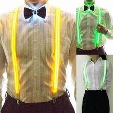 Tirantes iluminados con Led Unisex, 3 Clips de tirantes, aspecto Vintage, elásticos, en forma de Y, pantalones ajustables, para Festival Y Club