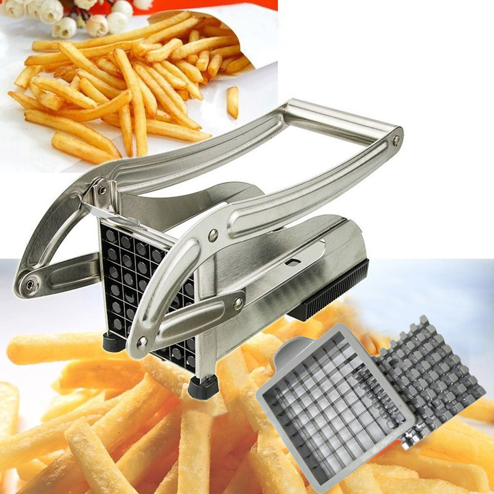 Potato Chips Making Machine Stainless Steel French Fry Potato Cutter French Fries CutterCutting Machine 2 Blades Different Holes