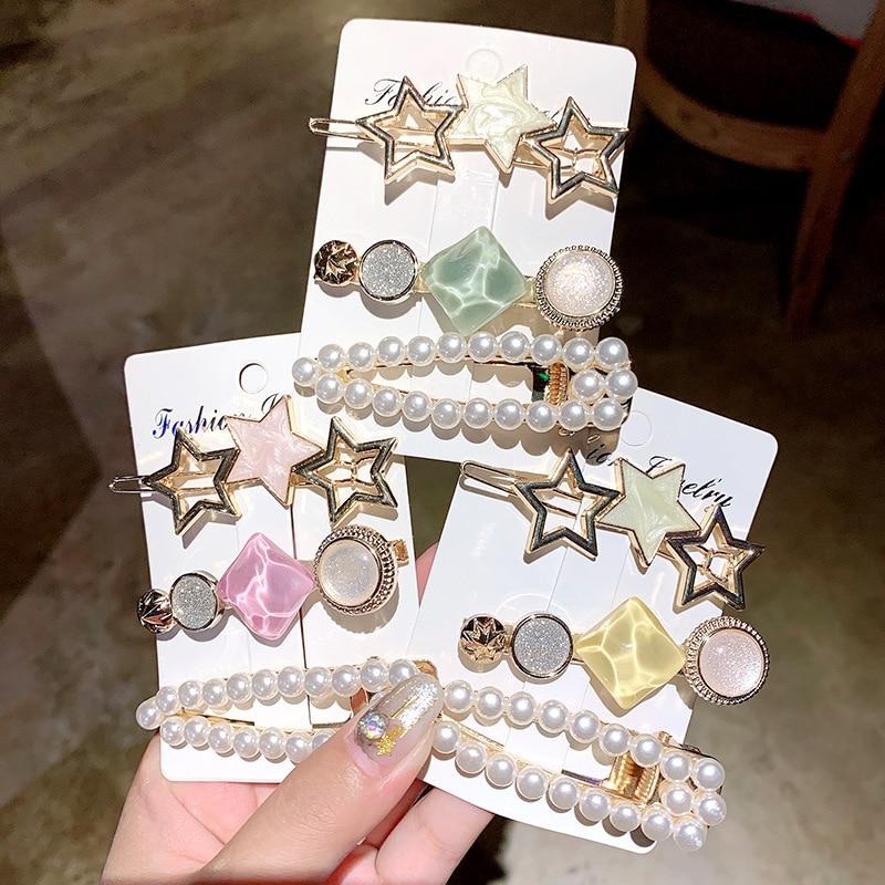 3PCS/Set Fashion Star Pearls Acetate Geometric Hair Clips For Women Girls Headband Sweet Hairpins Barrettes Hair Accessories