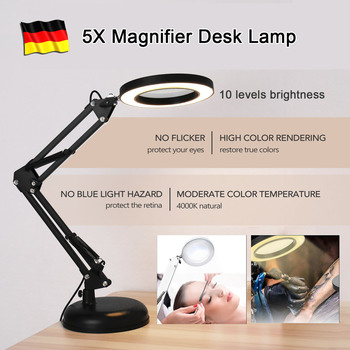 Flexible Arm Professional 5X Magnifier Lamp USB LED Magnifying Glass Desk Lamp 10 Levels Brightness Dimming Reading Lamp