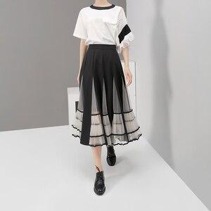 Image 3 - חדש 2020 נשים שחור אלסטיות גבוהה מותניים חצאית רשת טלאים אונליין גבירותיי קוריאני אופנה אלגנטית חצאית מקרית רחוב סגנון 5409