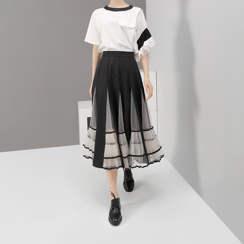 Image 3 - New 2020 Women Black Elastic High Waist Skirt Mesh Patchwork A 
