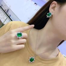 Qi Xuan_New Green Stone ожерелье из трех частей S925 Стерлинговое Серебро атмосферная серьга_ Прямая с фабрики