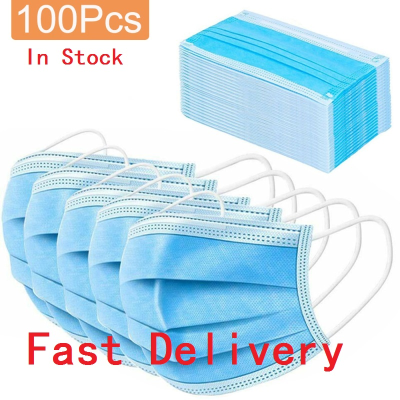Fast Delivery 20/50/100pcs Disposable Mask, Three-layer Mask, Dust-proof And Breathable Surgical Masks In Stock Prevent Disease