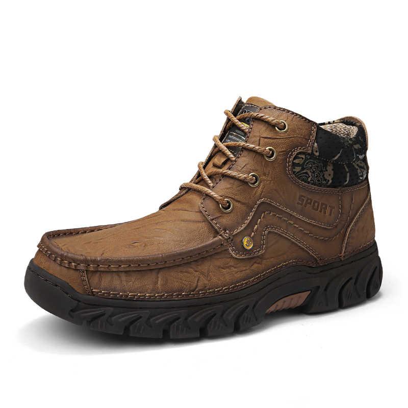 Sıcak Satış Erkek Kar Botları Sıcak Kürk Kış Ayakkabı Erkekler Su Geçirmez Ayakkabı Nefes Ayakkabı Üzerinde Kayma Rahat Rahat Moda 2019