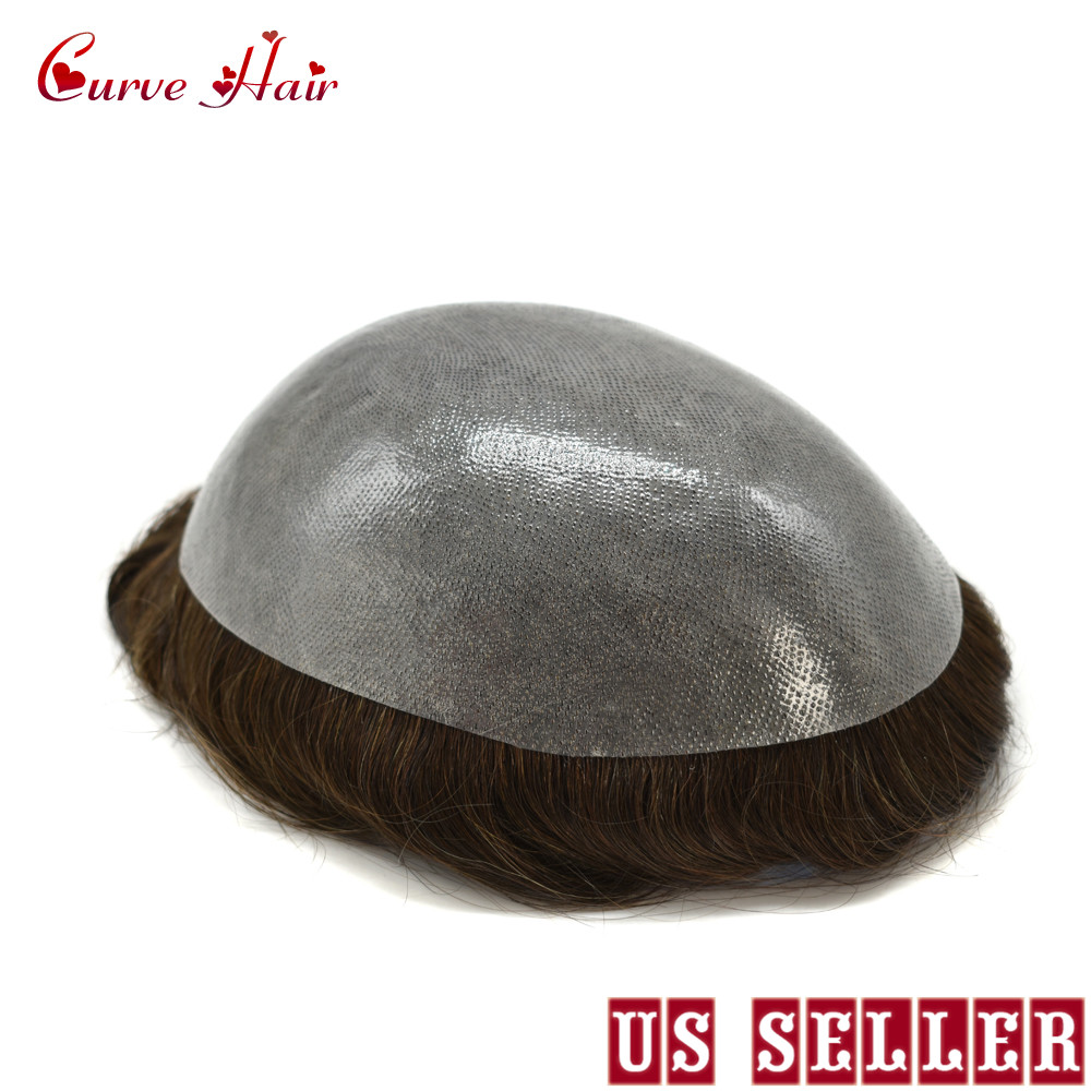 Full Poly Mens Toupee Thin Skin Easy To Wear Hairpiece Mens Human Hair Replacement All Clear PU Mens Wig