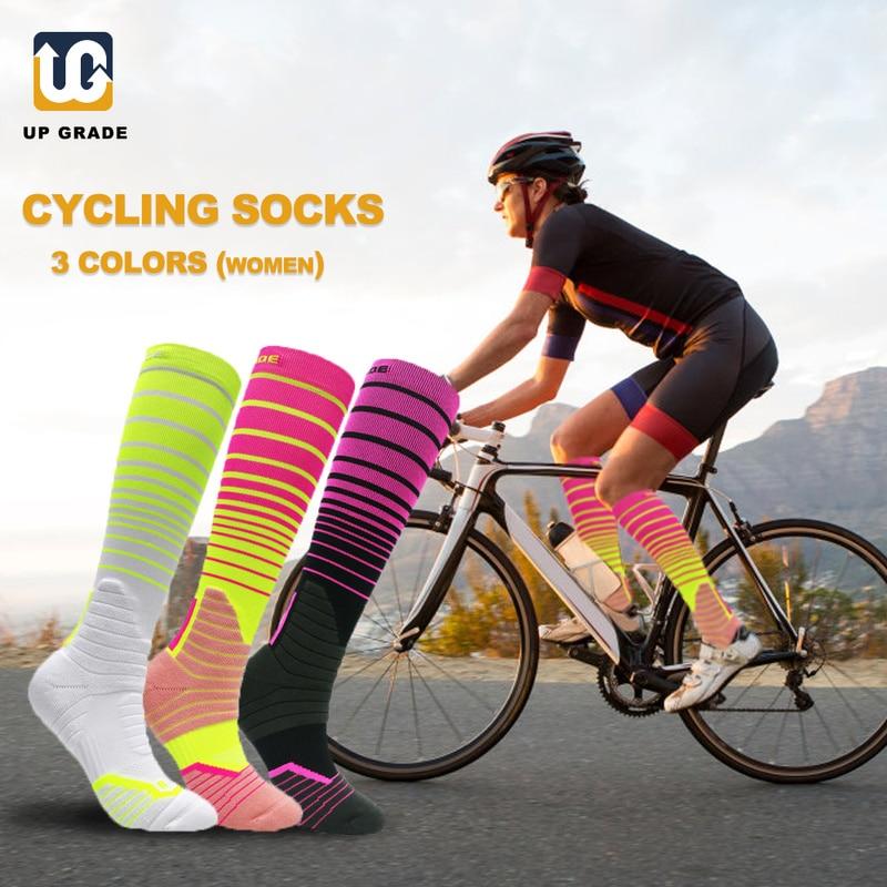 Meias de Bicicleta de Estrada ao ar Ugupgrade Alta Qualidade Coolmax Profissional Ciclismo Meias Livre Corrida Compressão Esporte Meia