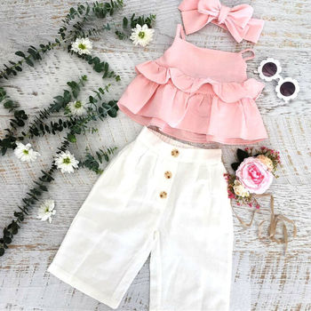 3pcs Toddler Kid Baby Girl Clothes Ruffle Sling Tops T-shirt Tops+Long Pant Headband Outfits Set Kids Summer
