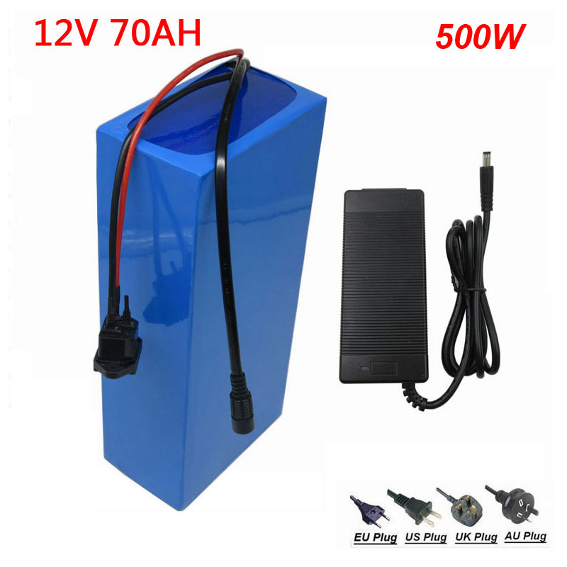 500W <font><b>12V</b></font> <font><b>70AH</b></font> ebike <font><b>battery</b></font> 12Volt <font><b>70AH</b></font> 70000MAH <font><b>Lithium</b></font> ion LED light <font><b>battery</b></font> with 12.6V 5A charger image