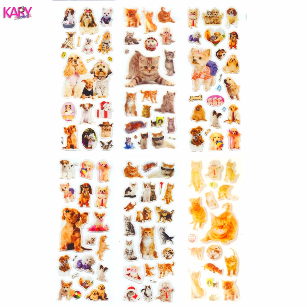 6 Sheets Pets Dogs Cats Animals Scrapbooking Kawaii Gifts Reward Kids Children Toys Bubble Puffy Stickers Factory Direct Sales