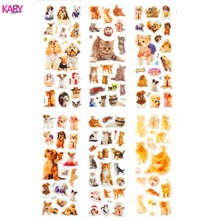 цена на 6 Sheets Pets Dogs Cats Animals Scrapbooking Kawaii Gifts Reward Kids Children Toys Bubble Puffy Stickers Factory Direct Sales