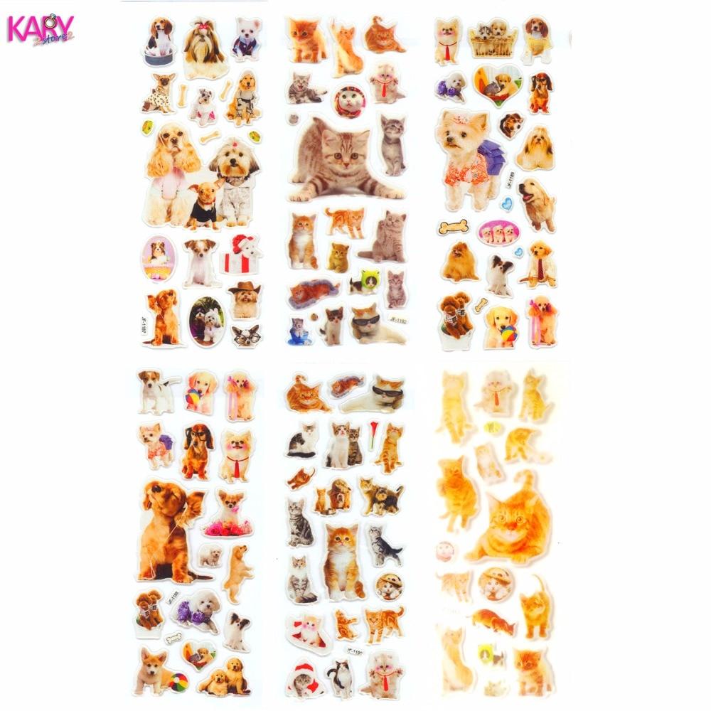 3 Sheets Kawaii Cat Animal Scrapbooking Bubble Puffy Stickers Reward Kids Toy QN