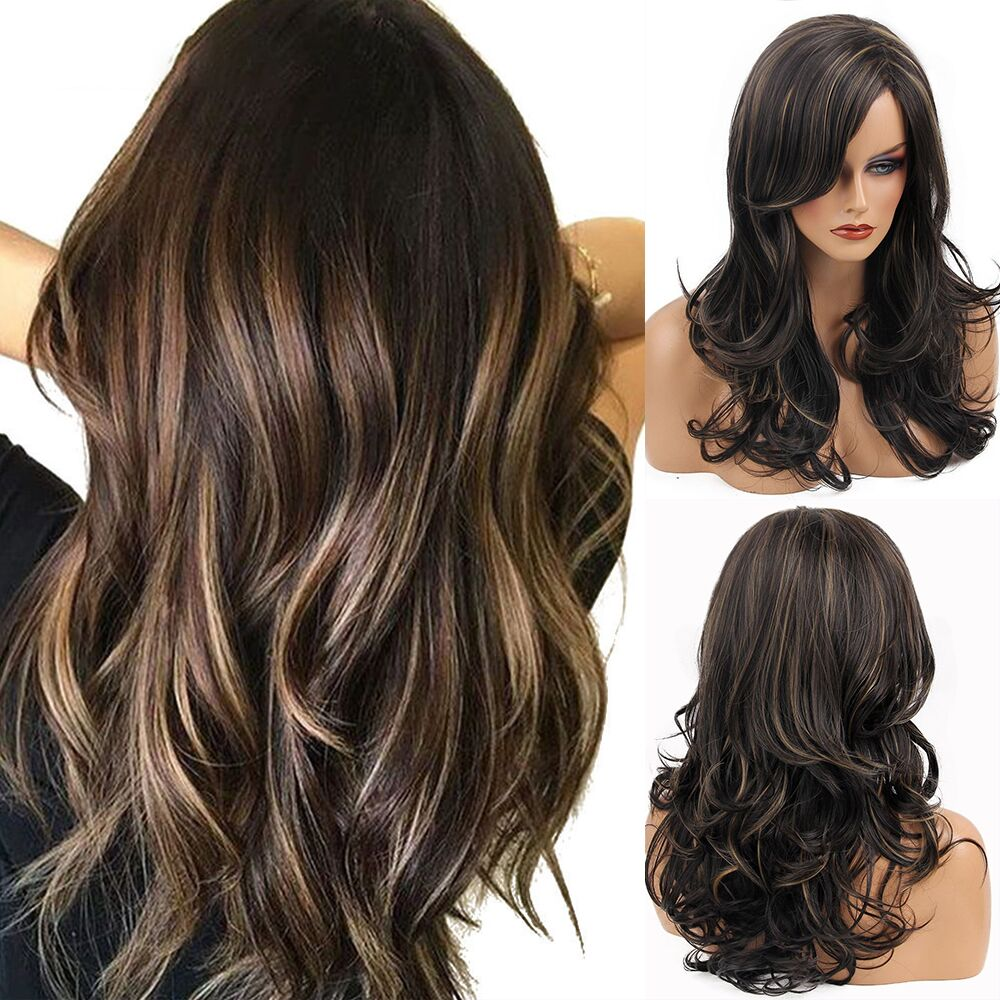 JONRENAU High Quality Long Mixed Brown And Blonde Wigs Heat Resistant  Curly Wave Synthetic Wigs With Side Bangs For Women