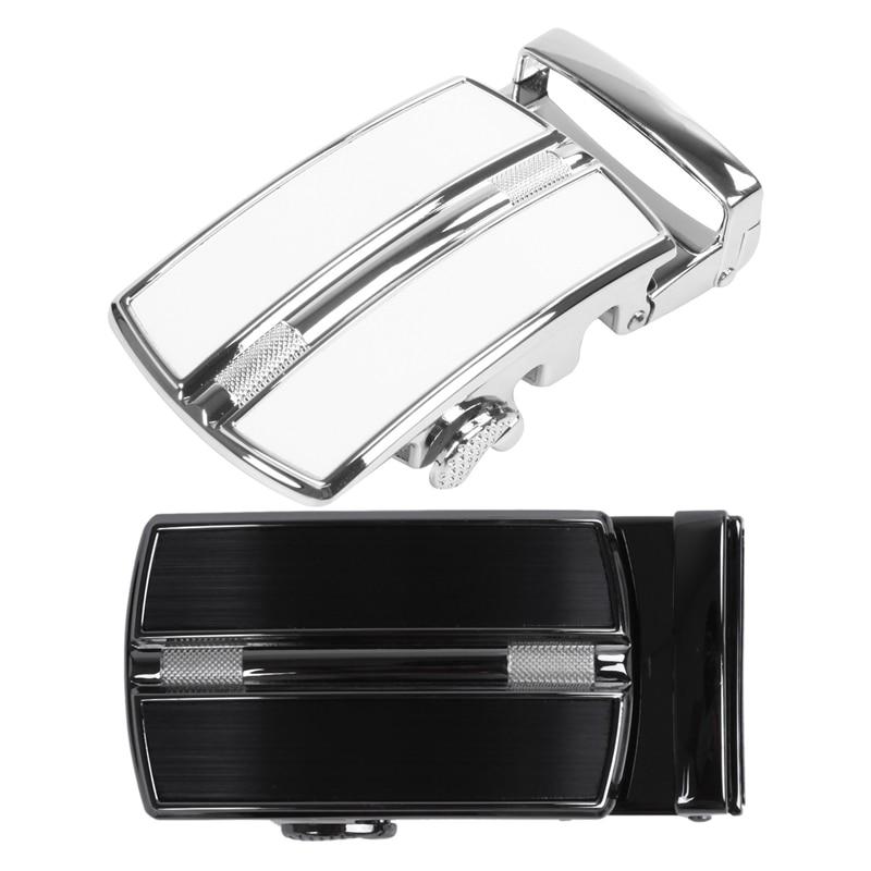 2 Pcs Men'S Solid Buckle Automatic Ratchet Leather Belt Buckle, Silver & Black + Silver
