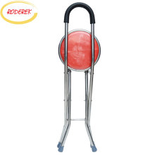Walking-Stick Chair Metal-Frame with Seat Portable Lightweight for Elder Folding