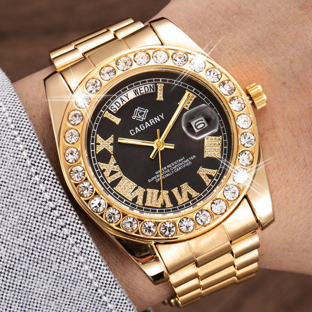 Мужские наручные часы со стразами, Роскошные Кварцевые водонепроницаемые часы из золотистой стали в стиле хип-хоп
