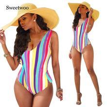 цены Summer 2019 Sexy Women Striped Backless One Piece Bikini Monokini Swimsuit Swimwear Beachwear Bathing Suit Biuqini