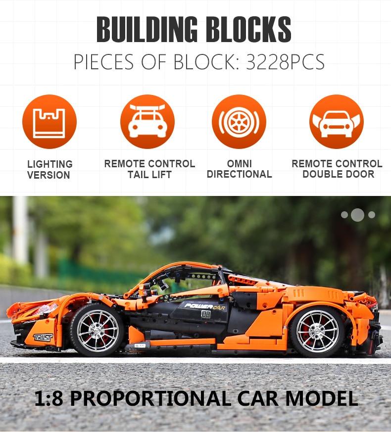 1 to 8 ratio 13090 Technic Series McLaren P1 Orange Racing Car Set APP RC Model Building Blocks Power Motor Function Toys 20087 28