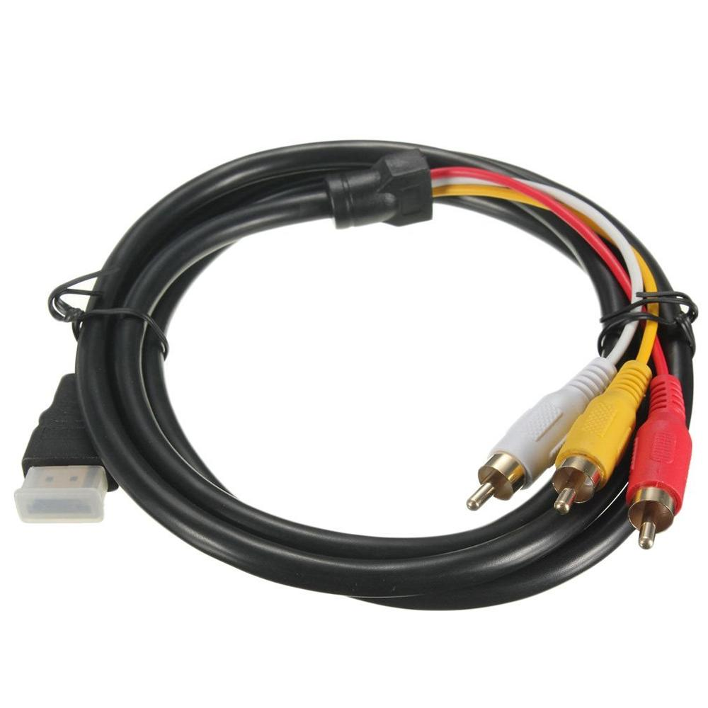 Gold Plated Connectors <font><b>5</b></font> Feet <font><b>1</b></font>.5M 1080P HDTV HDMI Male to <font><b>3</b></font> <font><b>RCA</b></font> Audio Video AV Cable Cord Adapter for Better Signal Transfer image