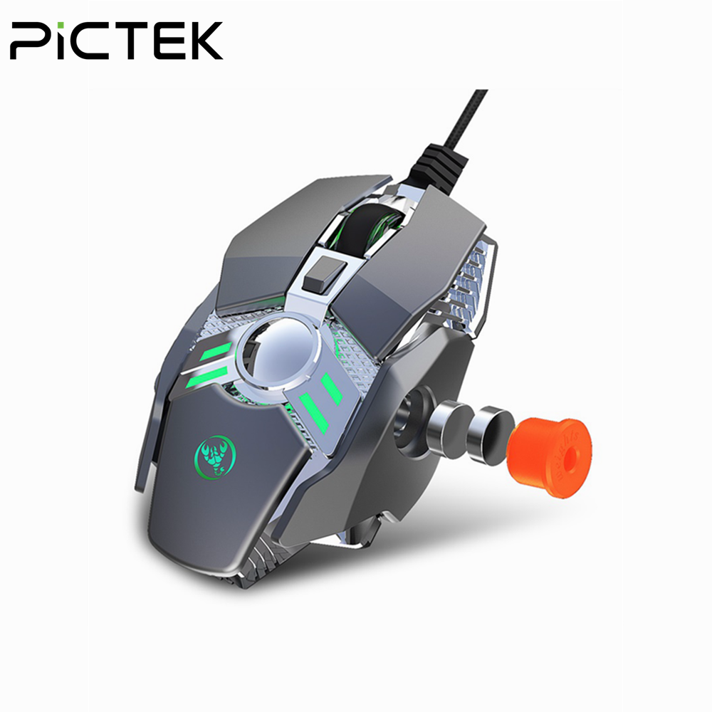 Pictek 6400DPI Wired Gaming Mouse Mechanical  Gamer Mouse 7 Programmable Keys With Game Chip Micro Switch Color Backlight