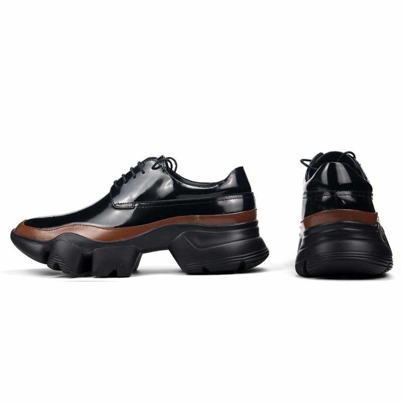 Baru Desain Pria Kulit Asli Sepatu Buatan Tangan Warna Campuran Tebal Sepatu Pria Renda Lari Sepatu Kasual Sepatu