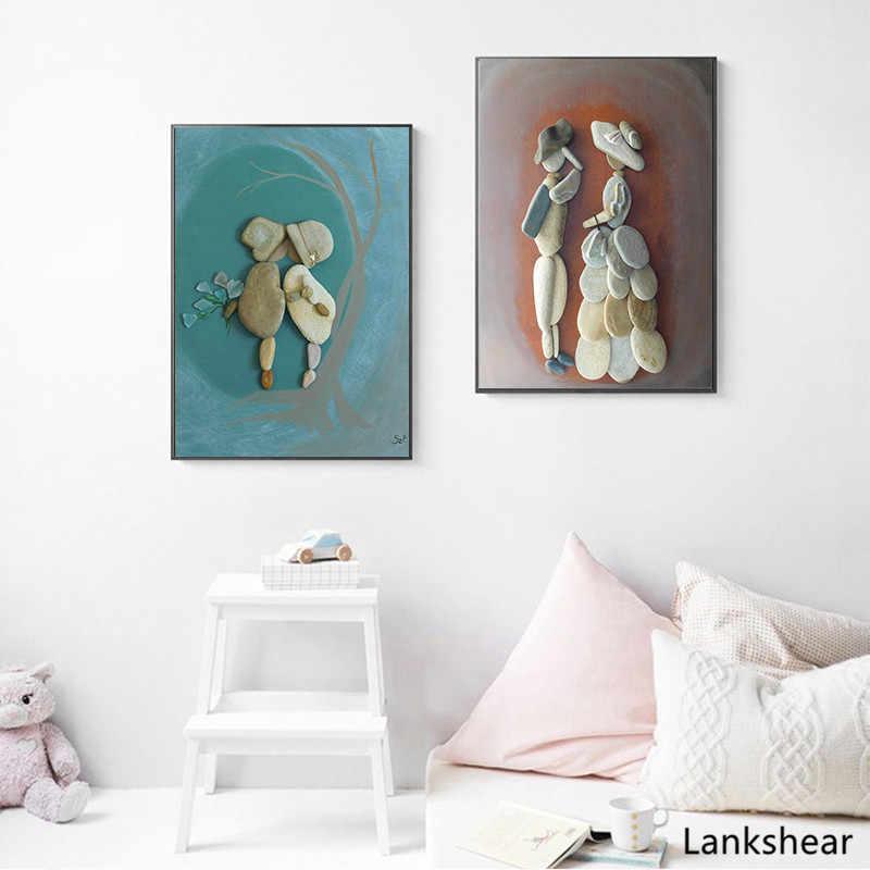 印刷やポスター抽象石 Fgure アート石北欧キャンバス絵画壁の写真の装飾モダンな家の装飾非フレーム