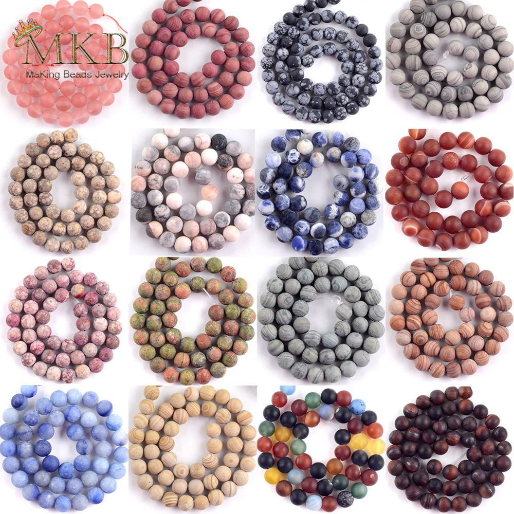 Natural Stone Dull Polish Matte Pink Zebra Jaspers Line Stone Round Beads For Jewelry Making DIY Bracelets Pick 19 Styles 15