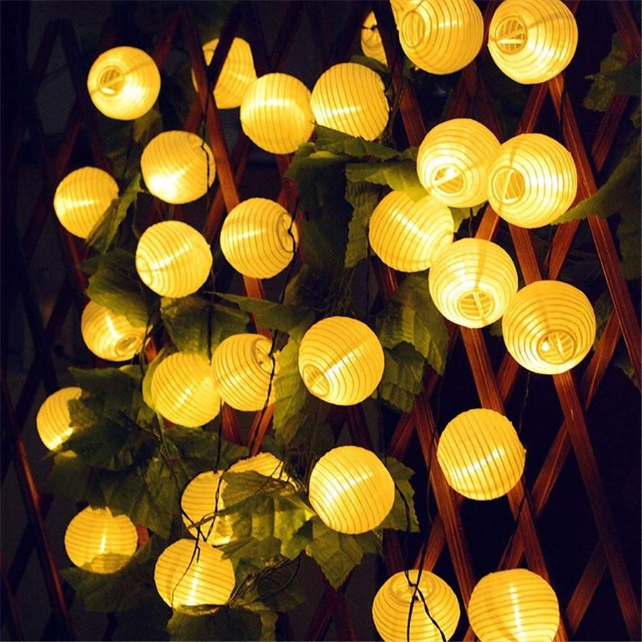 Thrisdar 10 20 30 LED Solar Lantern String Light Outdoor Christmas Garden Backyard Balcony Lantern Ball Solar Garland Light