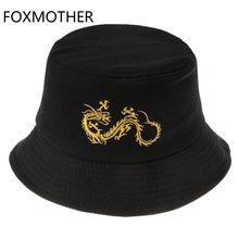 FOXMOTHER New Fashion Punk Black Embroidery Fisherman Caps Bob Panama Casquette Dragon Bucket Hats Mens Hip Hop Gorras