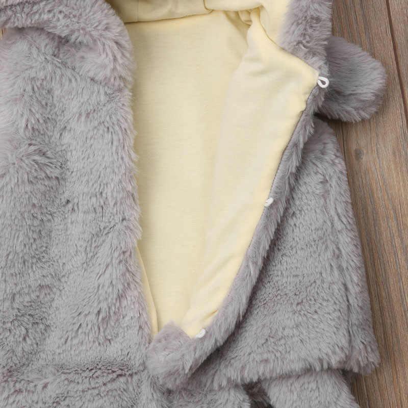 2019 Nova Casaco Cinzento Dos Desenhos Animados Da Criança Meninas Fofo Inverno Fur Vest Gilet Colete Bebê Crianças Meninos Bodywarmer Jaqueta
