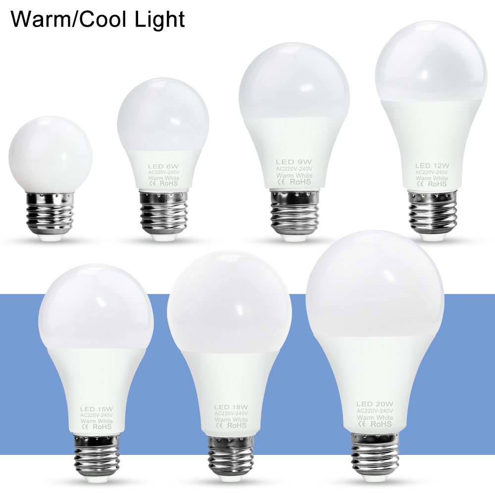 WENNI <font><b>LED</b></font> Lamp 220V E14 <font><b>LED</b></font> Bulb 3W 6W 9W 12W 15W <font><b>18W</b></font> 20W Ampoule <font><b>LED</b></font> Light Bulb E27 Spotlight Table Lamp 240V Indoor Lighting image