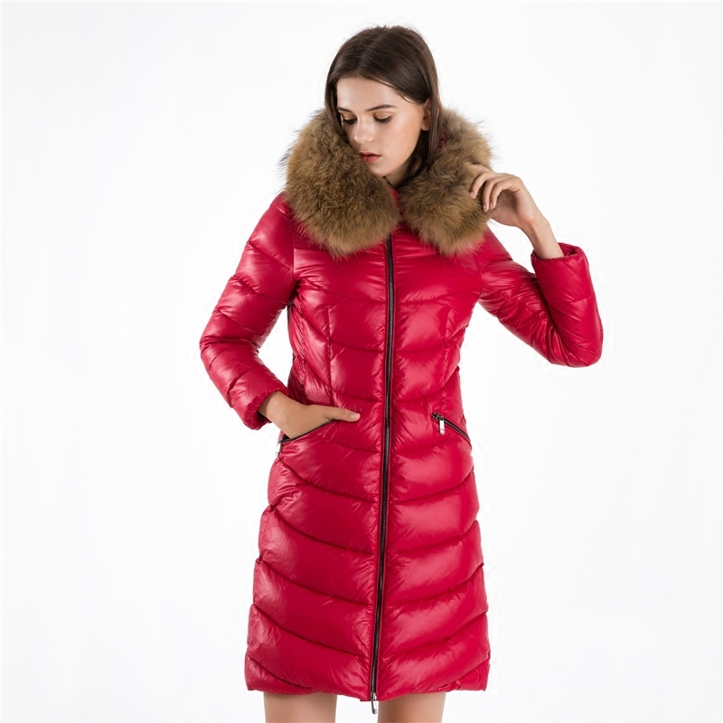Winter Women's Down Jacket Large Raccoon Fur Hooded Clothes 2020 Korean Thick Warm Long 90% Duck Down Coat Hiver L8026