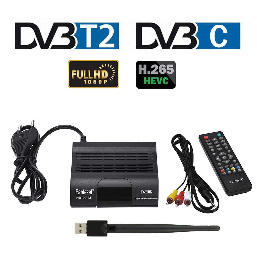 TV Tuner DVB T2 HECV 265 Full HD Digital TV Receiver H265 TDT TV Rezeptor DVB-T2 Set-top Box FTA DVB-C Decoder Youtube VHF UHF