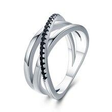 Классические ювелирные украшения из серебра 3,9 г, 925 пробы, обручальные черные шпинели, обручальные кольца для женщин, Bijoux Femme G006