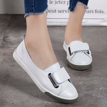 2019 Fashion Women Loafers Flats Woman Lady Female Slip on White Genuine Leather Moccasins Casual Shoes Zapatos De Mujer YC259