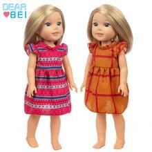 Nuevo vestido Vintage apto para muñeca de Niña Americana, ropa de muñeca de 14 pulgadas, zapatos no incluidos.