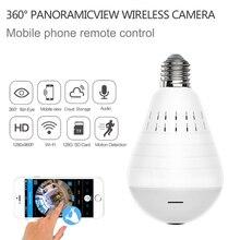 HD Wifi Camera 360 ° Toàn Cảnh Mắt Cá Ẩn Cam Bóng Đèn Sáng Nhà An Ninh Camera Quan Sát Hai Cách Âm Thanh