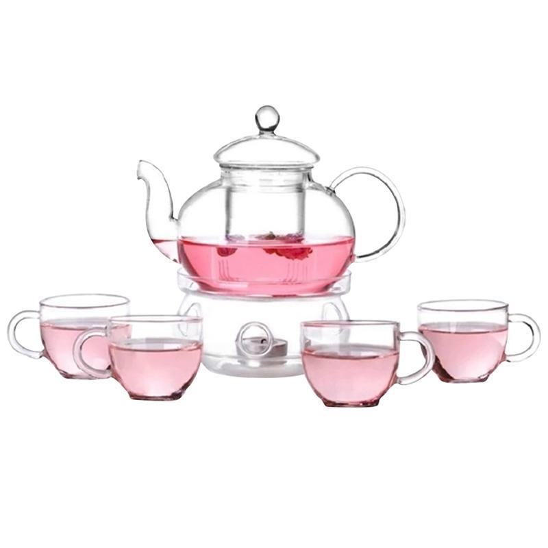 6 Pcs Tea Set High Quality 1pc Tea Pot With 4pcs Cups And 1pc Warmth Teaware Flowers Tea Sets Kungfu Teaware