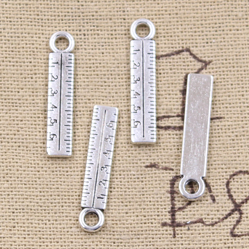 12pcs Charms Tools Ruler Rule 24x5mm Antique Silver Plated Pendants Making DIY Handmade Tibetan Silver Finding Jewelry