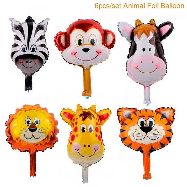 10Pcs Cartoon Animal Aluminum Foil Balloons Kids Jungle Safari Party Decoration