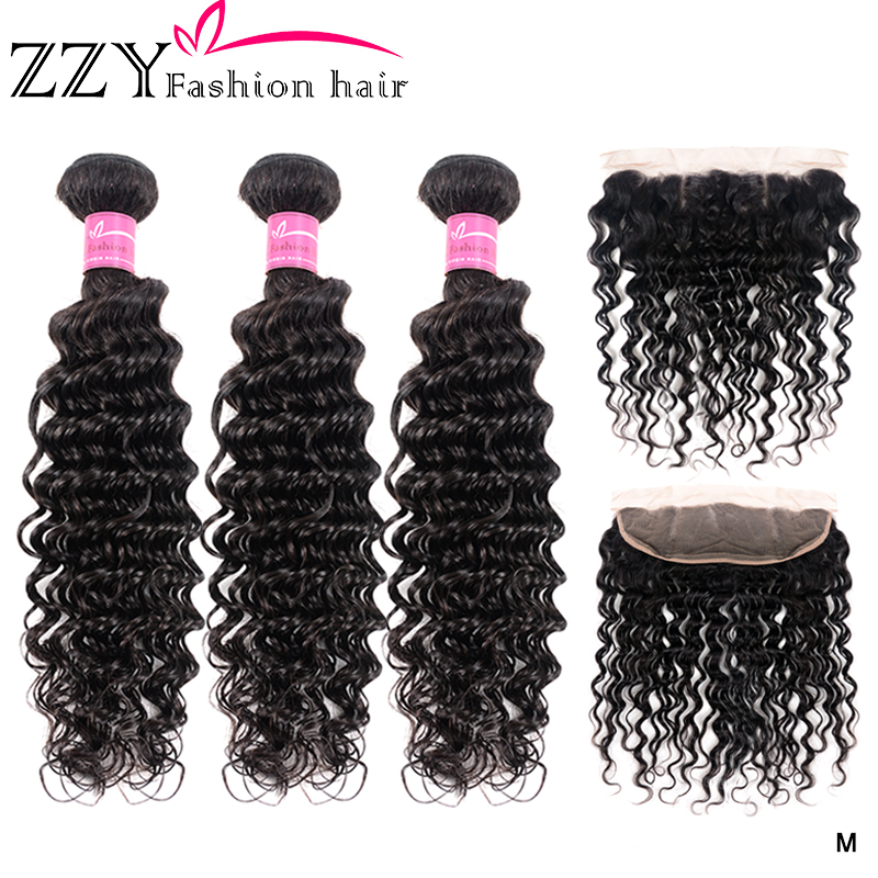ZZY  Deep Wave Bundles With Frontal Human Hair 3 Bundles With Closure Non-remy Brazilian Hair Weave 13x4 Ear To Ear Lace Frontal