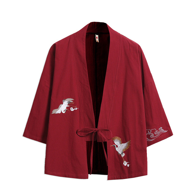 Japanese Style Yukata Coat For Men Spring High Street Loose Embroidery Kimono Coat Vintage Linen Cotton Solid Colour Gown