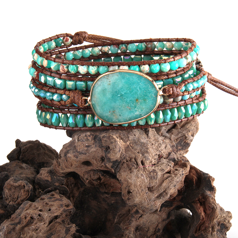 RH Mode Boho Armbander Blau Glas & Natürliche Steine Charm 5X Woven Wrap Armbänder Dropshipping
