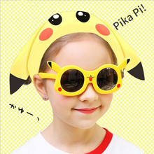 2019 new childrens silicone glasses cartoon cute deformable eye protection Pikachu Kids Sunglasses  Baby Sun Glasses