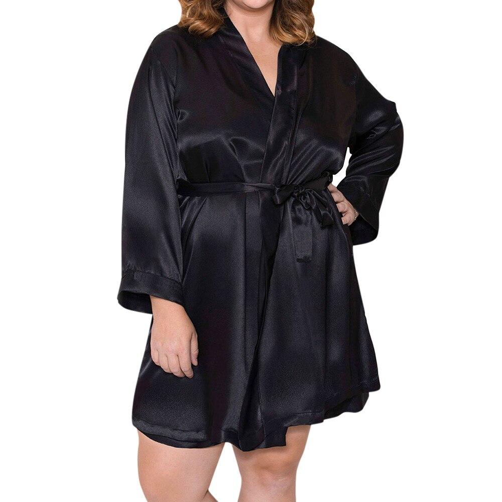 Sexy V-neck Lingerie Women Silk Lace Robe Dress Babydoll Nightdress Kimono Nightgown Sleepwear Dressing Plus Size Pijama Mujer