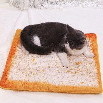 Runde Katze Bett Haus Weichen Maschine Waschbar 3D Simulation Brot Lamm Plus Samt Warm Zu Halten Haustier Matte Bett Matte katze Haus Sofa